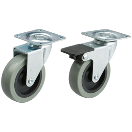 Set of wheels with brakes, set with 4 pcs.